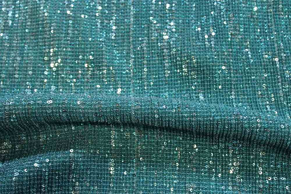 COCKTAIL TEAL-12 EMBROIDERD SHEERS SEQUENCE CRUSHED OVERLAY FABRICS