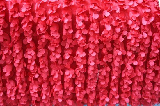 ADORABLE RED EMBROIDERD TEFFATA CLOSEOUTS ROSETTE FABRICS