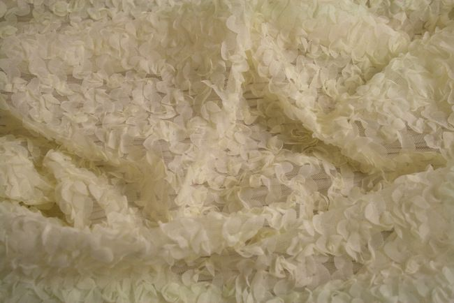 COOL LT. YELLOW EMBROIDERD SHEERS TEFFATA CLOSEOUTS ROSETTE FABRICS